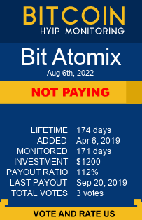 bitatomix.com monitoring by bitcoin-hyip-monitoring.com