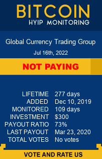 Global Currency Trading Group bitcoin hyip monitor
