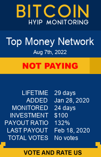 https://topmoney.network/?ref=HyipMonitoring_biz monitoring by bitcoin-hyip-monitoring.com