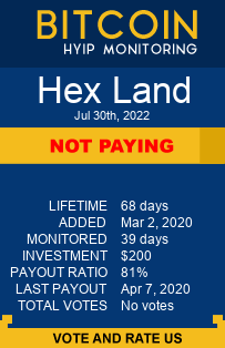 Hex Land bitcoin hyip monitor