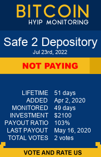 Safe 2 Depository bitcoin hyip monitor