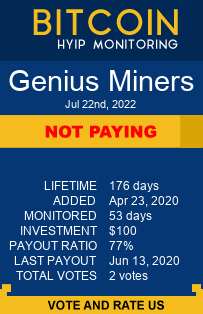 geniusminers.com monitoring by bitcoin-hyip-monitoring.com