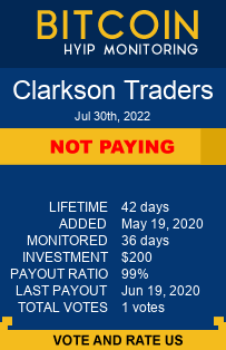 clarksontraders.com monitoring by bitcoin-hyip-monitoring.com