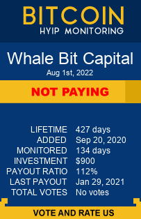 Whale Bit Capital bitcoin hyip monitor