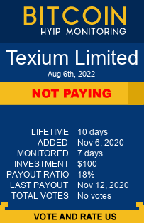 Texium Limited bitcoin hyip monitor