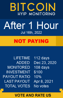 After 1 Hour bitcoin hyip monitor