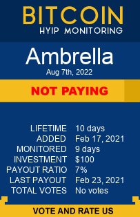 ambrella.cc monitoring by bitcoin-hyip-monitoring.com