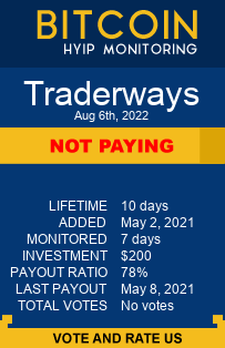 traderways.cc monitoring by bitcoin-hyip-monitoring.com